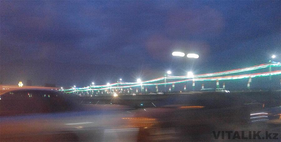 Мост над Сырдарьей ночью Худжанд